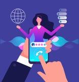 Pomocniczy app Linii specjalnej obsługa klienta Internetowa doradca rozmowa klient Wirtualny poparcia i wiszącej ozdoby pomocy we ilustracji