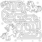 Pomocy jednorożec znaleziska ścieżka przyjaciel labitynt Dla dzieciaków labirynt gra Wektorowa czarny i biały ilustracja dla kolo ilustracja wektor