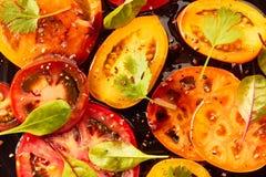 Pomodori affettati con le spezie e l'olio su buio Fotografia Stock Libera da Diritti