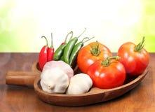 Pomodori, aglio e pepe Fotografia Stock Libera da Diritti