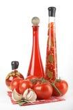 Pomodori, aglio, foglia di alloro Immagini Stock Libere da Diritti