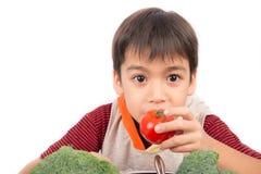 Pomodori amorosi del bambino adorabile Fotografia Stock Libera da Diritti