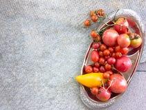 Pomodori arancio dei pomodori di pomodori dei pomodori rossi variopinti di giallo con le gocce di acqua sui precedenti concreti s Fotografia Stock