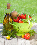 Pomodori, bottiglia di olio d'oliva, agitatore del pepe e basilico maturi freschi Immagini Stock
