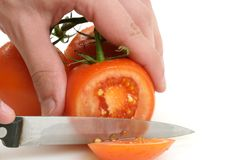 Pomodori che sono tagliati Immagine Stock Libera da Diritti