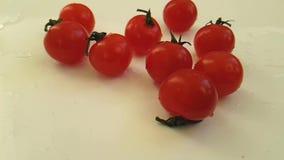 Pomodori ciliegia bagnati su fondo bianco, fucilazione lenta video d archivio