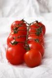 Pomodori ciliegia freschi organici sul fondo del Libro Bianco Immagine Stock Libera da Diritti
