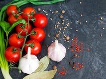 Pomodori ciliegia freschi su fondo nero con la cipolla e l'aglio Immagine Stock Libera da Diritti