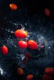 Pomodori ciliegia nell'acqua Fotografia Stock