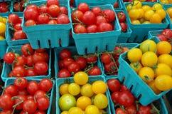 Pomodori ciliegia rossi e gialli in contenitori blu Fotografia Stock Libera da Diritti