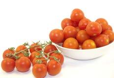 Pomodori ciliegia rossi freschi Fotografia Stock