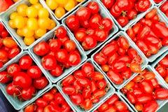 Pomodori ciliegia rossi organici ad un mercato del ` s dell'agricoltore Fotografie Stock Libere da Diritti
