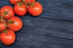 Pomodori ciliegia su fondo di legno scuro blu Immagine Stock Libera da Diritti