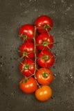Pomodori ciliegia su una pendenza del ramo da arancio a rosso su una d fotografia stock libera da diritti