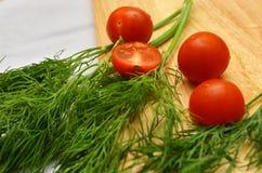 Pomodori ciliegia sui rami di aneto Fotografia Stock Libera da Diritti