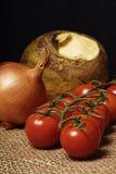 Pomodori, cipolla e navone-rutabaga Fotografie Stock