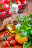 Pomodori con le erbe e l'olio Fotografia Stock Libera da Diritti