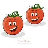 Pomodori con lo sguardo del fumetto con il fronte Fotografia Stock Libera da Diritti