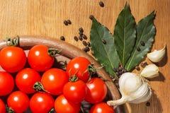 Pomodori con pepe nero ed alloro Immagine Stock Libera da Diritti