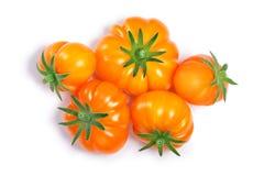 Pomodori costolati gialli, percorsi, vista superiore Fotografie Stock Libere da Diritti