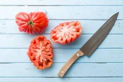 Pomodori della bistecca Coeur De Boeuf Fotografie Stock Libere da Diritti