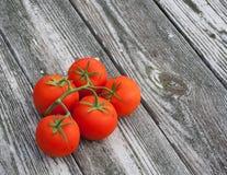 Pomodori della vite su vecchio fondo di legno Fotografia Stock