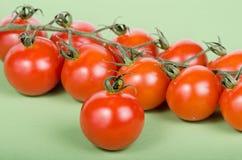 Pomodori di ciliegia allegati sulle viti verdi Fotografia Stock Libera da Diritti