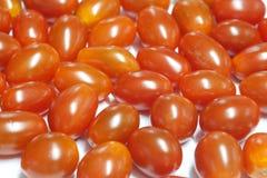 Pomodori di ciliegia freschi isolati su bianco Immagini Stock
