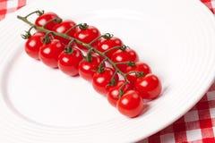 Pomodori di ciliegia sulla zolla Fotografie Stock Libere da Diritti