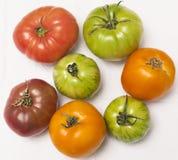 Pomodori di Heirloom sul panno bianco immagini stock libere da diritti