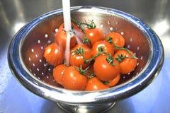 Pomodori di lavaggio Immagini Stock Libere da Diritti
