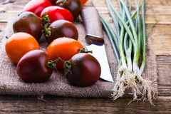 Pomodori differenti organici di colore e cipolle verdi Fotografie Stock