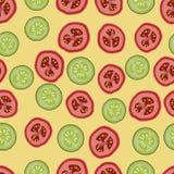 Pomodori e cetrioli, modello seemless, vettore Fotografia Stock