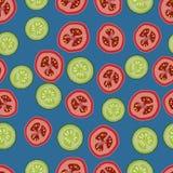 Pomodori e cetrioli, modello seemless, vettore, fondo blu Fotografie Stock