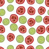 Pomodori e cetrioli, modello seemless, vettore, fondo isolato e bianco Fotografia Stock