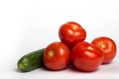 Pomodori e cetriolo Fotografia Stock