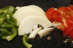 Pomodori e cipolle dei peperoni Fotografie Stock Libere da Diritti
