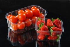Pomodori e fragole Fotografia Stock