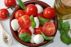 Pomodori e mozzarella con basilico fotografia stock