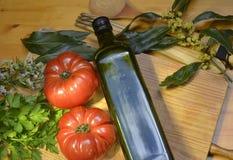 Pomodori e spezie dell'olio d'oliva Immagine Stock Libera da Diritti