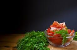 Pomodori ed aneto verde Immagine Stock Libera da Diritti