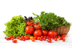Pomodori ed erbe differenti in un canestro di vimini Fotografie Stock