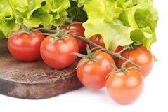 Pomodori ed insalata di ciliegia fotografia stock libera da diritti