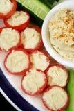 Pomodori farciti e Hummus fotografia stock