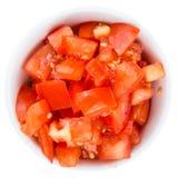 Pomodori fatti freschi di Cutted sopra bianco Fotografie Stock Libere da Diritti