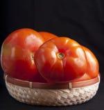Pomodori freschi in cestino di vimini Immagini Stock