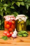 Pomodori inscatolati e cetrioli marinati Fotografie Stock
