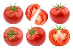 Pomodori isolati Insieme fresco del pomodoro del taglio isolato su fondo bianco con il percorso di ritaglio Fotografie Stock Libere da Diritti