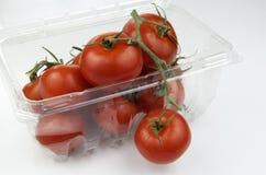 Pomodori maturati vite in recipiente di plastica Immagine Stock