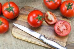 Pomodori maturi freschi del primo piano Immagini Stock Libere da Diritti